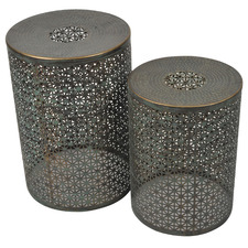 2 Piece Oxidised Copper Jaipur Side Table Set