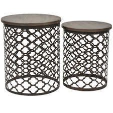 2 Piece Bronze Charcoal Jaipur Side Table Set