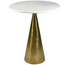 Antique Brass Marble Pedestal Bar Table