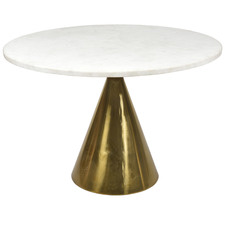 Antique Brass Marble Pedestal Dining Table