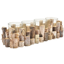 4-Slot Birch & Glass Candle Holder