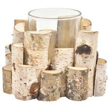Single Birch Wood & Glass Candle Holder
