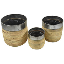 3 Piece Rattan & Iron Planter Set