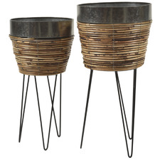 2 Piece Rattan Planters on Stands Set