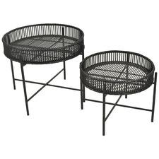 2 Piece Skye Bamboo & Iron Side Table Set