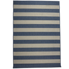 Blue & Champagne Striped Suva Outdoor Rug