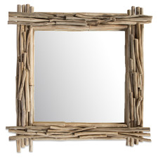Square Semarang Teak Branch Mirror