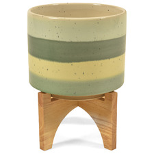 Forest Ceramic Pot on Wood Stand