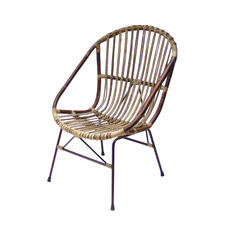 Rattan & Metal Lounge Chair