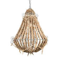 Large Grey & Natural Beaded Chandelier