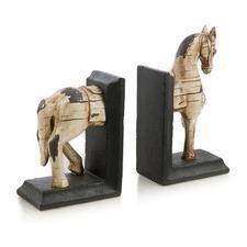 2 Piece Horse Polyresin Bookend Set