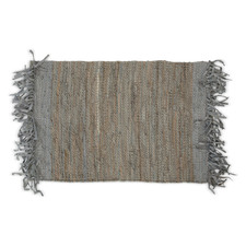 Avani Leather Hand-Loomed Floor Mat with Fringes