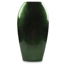 Small Emerald Ceramic Flat Vase