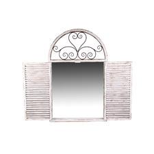 Antique White Shutter Mirror