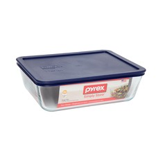 Simply Store 11 Cup-2.6L Rectangular Storage Dish with Blue Lid (Set of 2)