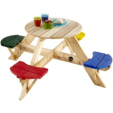 Circular Kids' Picnic Table with Coloured Seats