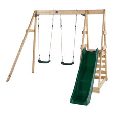 Tamarin Wooden Double Swing Set with Slide