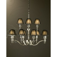 Stanford 12 Light Nickel Chandelier - Black