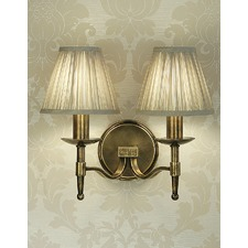 Stanford 2 Light Brass Wall Lamp - Shimmer Grey