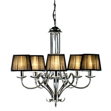 Zoya 5 Light Nickel Chandelier - Black