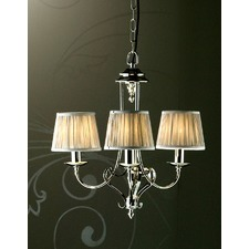 Zoya 3 Light Nickel Chandelier - Shimmer Grey
