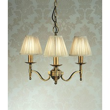 Stanford Three Light Brass Chandelier in Taupe