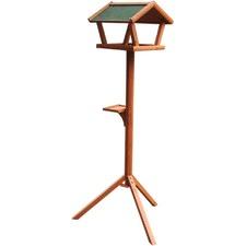 Wooden Wild Bird Stand with Feeder in Ceder Red