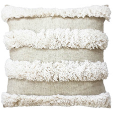 Natural Embroidered Halo Cotton-Blend Cushion