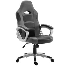 Grey & Black Gromm Faux Leather Office Chair