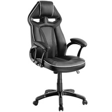 White & Black Gromm Faux Leather Office Chair