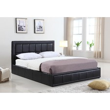PU Leather Queen Size Gas Lift Storage Bed