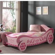Pink Royal Princess Single Car Bed & Spring Mattress
