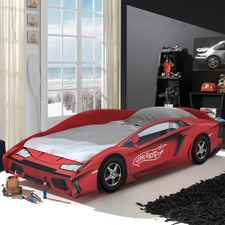 Red Racing Speed Car Single Bed