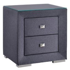 Dark Grey Fabric Bedside Table With Glass Top