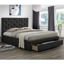 Dark Grey Kingston Upholstered Queen Bed Frame with Storage