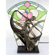 Floral Leadlight Art Deco Lamp