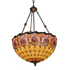 Art Deco Style Stained Glass Pendant Light