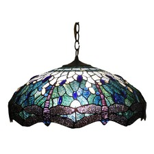 Dragonfly Stained Glass Pendant Light