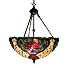 Floral Stained Glass Pendant Light