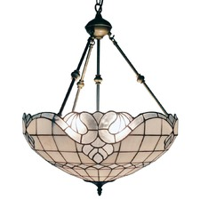 Silver Tones Stained Glass Pendant Light