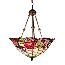Rose Stained Glass Pendant Light