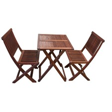 White Beach 3 Piece Folding Table Set
