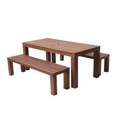 Barton 3 Piece Shorea Hardwood Dining Set With Benches