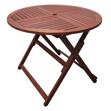 Round Osborne Shorea Hardwood Folding Table