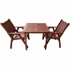 2 Seater Square Outdoor Dining Table & Chairs Set