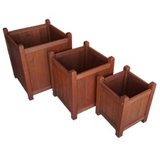 3 Piece Shorea Wood Planter Box Set
