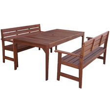 6 Seater Lazio Outdoor Dining Table & Bench Set