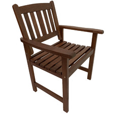 Malay Shorea Wood Outdoor Armchairs (Set of 2)