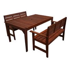 4 Seater Lazio Shorea Wood Outdoor Dining Table & Bench Set