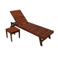 2 Piece Lazio Shore Wood Sun Lounge & Side Table Set